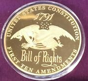 American Mint 70 Mm 3 Diameter Charter Of Freedom 24k Gold Plated