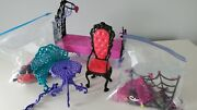 Monster High Doll Bed Furniture Vanity Set And Doll Accessories Lot