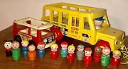 Vintage Fisher Price School Bus Mini Bus And Little People Pull Toys