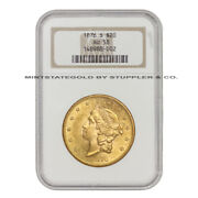 1876-s 20 Liberty Ngc Au58 Certified Coin San Francisco Gold Double Eagle