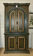 Antique Swedish Painted Cabinet 1800and039s Teal Green And Gold 4 Doors Trees Birds