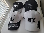4 Pcs Classic Black And White New York City Caps W/adjustable Back. 4 For 40