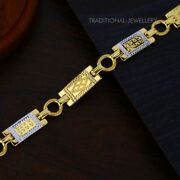 22k Yellow Gold Menand039s Bracelet Beautifully Handcrafted Diamond Cut Design 142