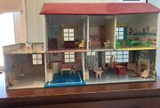 Vintage Marx Tin Dollhouse Miniature Barbie Doll And Furniture And More
