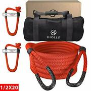 1/2 X 20' Kinetic Recovery And Tow Rope For Atv, Utv, Snowmobile, Red 7700lbs