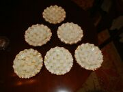 Set Of 6 Mackenzie Childs Parchment Check Fluted Ceramic Dessert Or Salad Plate