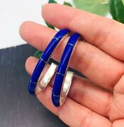 925 Taxco Mexican Sterling Silver Oval Hoops Blue Lapis Earrings Handmade Mexico