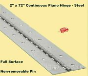 2 X 72 Piano Hinge Steel Finish Continuous Full Surface Non-removable Pin