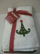 New Pier 1 Tea/dish Towels Set Of 4 Holiday Christmas Tree Snowman Cotton Gift