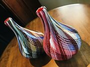 These Are A Rare Pair Of Vintage Italian Hand-blown Ribbon Swirl Vases.