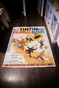 Tintin The Blue Oranges 4x6 Ft Vintage French Movie Poster Rerelease 1980and039s