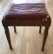 Vintage Singer Sewing Machine Stool Bench Wood Vinyl - As Is Restoration Project