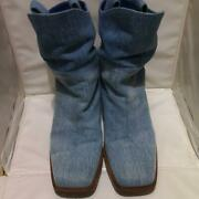 Denim Western Boots Heel Shoes Coco Cc Womenand039s Eu 38 Vintage From Japan