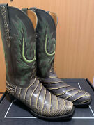 Lucchese Menand039s Western Boots 9.5 Alligator Belly Gray W/ Green Stitch Pristine
