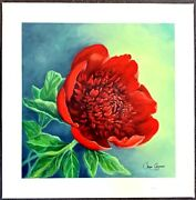 Jane Seymour - Limited Edition Serigraph Peony 24 X 24 Coa Hand Sign And Nbr