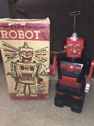 1960s Early Vintage Marx Battery Operated Electric Robot With The Box
