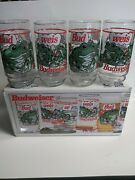 Budweiser Indiana Glass Set Of 8 Frog Drinking Glasses Anheuser Busch 16oz 1995