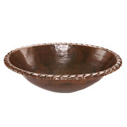 Self-rimming Oval Roped Rim Hammered Copper Bathroom Sink In Oil Rubbed Bronze