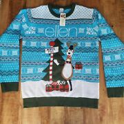 Ellen Show Ugly Christmas Sweater Blue White Reindeer Snowflakes Pullover Large
