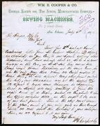 1870 New Orleans - Singer Mfg Co Wm E Cooper And Co Sewing Machines Letter Head