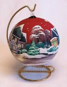 Christmas Glass Ornament Hand Painted Ball With Stand