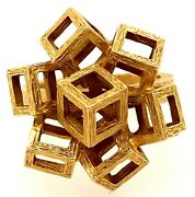 Knud V. Andersen 14k Yellow Heavy Gold Cubist Ring 10.37 Grams Size 6 585 Exc