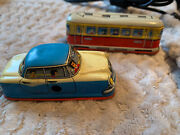 Vintage Technofix Tin Plate Wind Up Car Taxi And Bus Tram Western Germany G-301