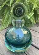 Mid Century Murano Glass Sommerso Faceted Vintage Perfume Bottle