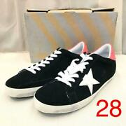 Golden Goose Super Star Men's Sneakers Shoes Lowcut Black X Red Us 10
