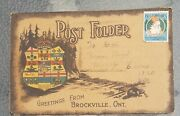 Rare 1911 Greetings From Brockville Ontario. Used Postcard Foldout Valentineand039s