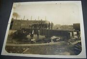 C1900 Antique Train Roundhouse Photo Toledo And State Line Railroad Construction