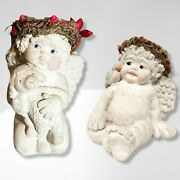 Set Of Two Dreamsicles- Cherub With Blue Bird On Shoulder And Cherub Hugging Lamb