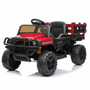 Kids Ride On Truck W/ Trailer, 12v Battery Power Tractor Toy Music Light Remote