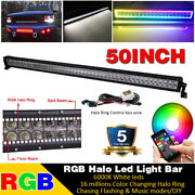 50 Inch Rgb Halo Chasing Led Work Light Bar Combo Truck Suv 4x4 Boat Driving 52
