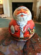 Vintage Chein Co Santa Claus Roly Poly Candy Cookie Tin 1980