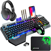 Wireless Gaming Keyboard Mouse Bluetooth Headset Kit 16 Rgb Backlit Rechargeable