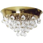 Midcentury Kalmar Brass And Glass Flush Mount With Crystals Austria 1960s