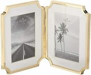 Kate Spade Sullivan Street Gold-plated Hinged Double 4 X 6 Picture Frame, Nib