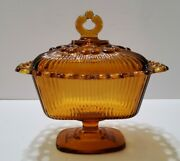 Vintage Amber Indiana Glass Lidded Butter Candy Dish Open Lace Edge Ribbed