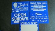 Lot Of 5 Vintage Cardboard Store Signs 1960and039s Hours - Specials - Open Sundays