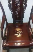 Antique Indonesian Arm Chair Solid Rosewood Carvedandnbsp With Mother-of-pearl Inlay