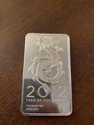 2012 Year Of The Dragon 10 Troy Ounce .999 Fine Silver Bar