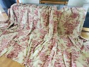 4 Custom Pinch Pleat Red Tan Floral French Country W27xl102.5 Drapes Curtains