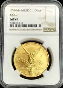 2014 Mo Gold Mexico 1 Oz Onza Libertad Winged Victory Coin Ngc Mint State 69