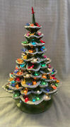 Vintage 70and039s Flocked Ceramic Christmas Tree 20andrdquo 150 Lights Butterflies And Birds