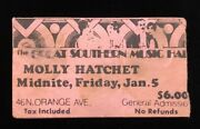 Molly Hatchet Band Signed 1979 Great Southern Music Hall Orlando Concert Ticket