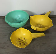 Vintage Tupperware Yellow And Green Colander Strainer Lot
