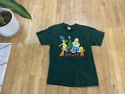 Vintage Simpsons Doh Ho Ho Family Christmas Graphic T-shirt Green Mens Large L