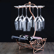 Metal Wine Rack Stand Counter Top 4 Glass And Bottle Holder Classic Leaf Design
