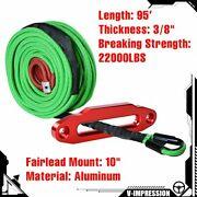 10 Aluminum Red Hawse Fairlead + 95and039 3/8 Green Synthetic Winch Rope Straps